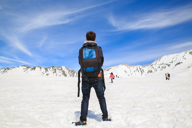 Die schneebergeansicht auf tateyama kurobe alpine route