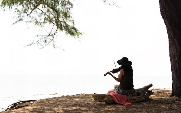 Die schöne frau, die auf hölzernem bauholzvorstand, violine spielend, für sitzt, entspannen sich zeit