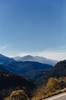 Die schweiz, alpine berge, sonnig, sommerlandschaft, blauer himmel