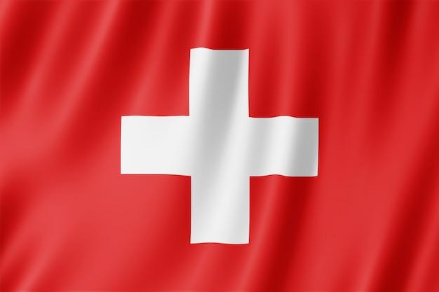 Die schweizer fahne weht im wind.