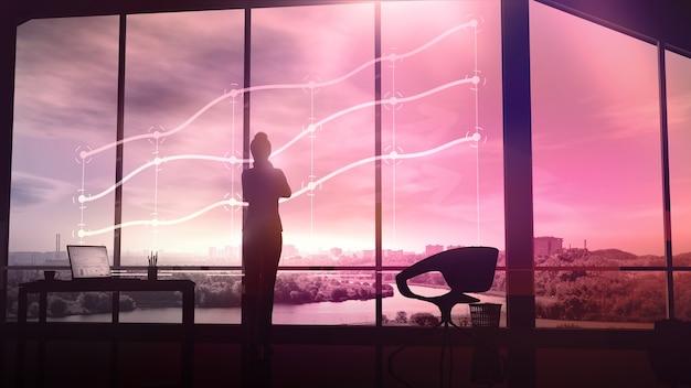 Die silhouette einer geschäftsfrau betrachtet die holographischen infografiken