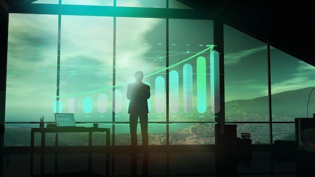 Die silhouette eines mannes in einem anzug betrachtet die wachstumsinfografik