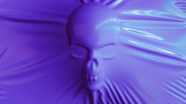 Die silhouette eines menschlichen schädels streckt lila latex