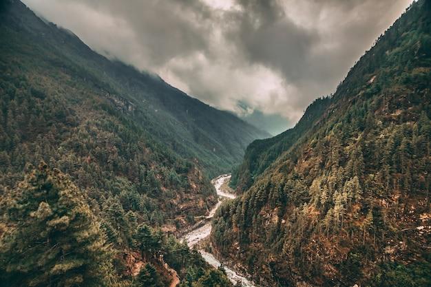 Die spektakuläre landschaft, die dichten nadelwälder und der bergfluss im canyon des himalaya. everest base camp trek im sagarmatha nationalpark im nordosten nepals.
