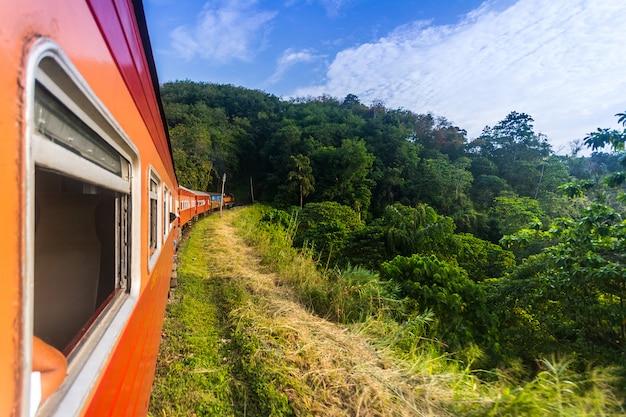 Die srilankische hauptbahn fährt in ein hügelland