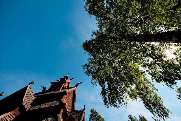 Die stabkirche in norsk folkemuseum, bygdoy, oslo, norwegen