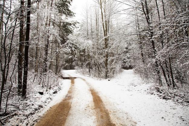 Die straße in einer wintersaison mit schnee bedeckt