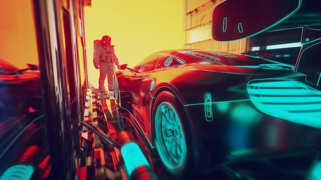 Die technologie hinter modernen autos - futuristisches konzept. 3d-darstellung
