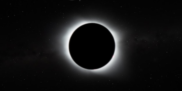 Die totale sonnenfinsternis, blick aus dem weltraum mit sternen des galaxienhintergrunds, breites banner. elemente dieses bildes von der nasa eingerichtet