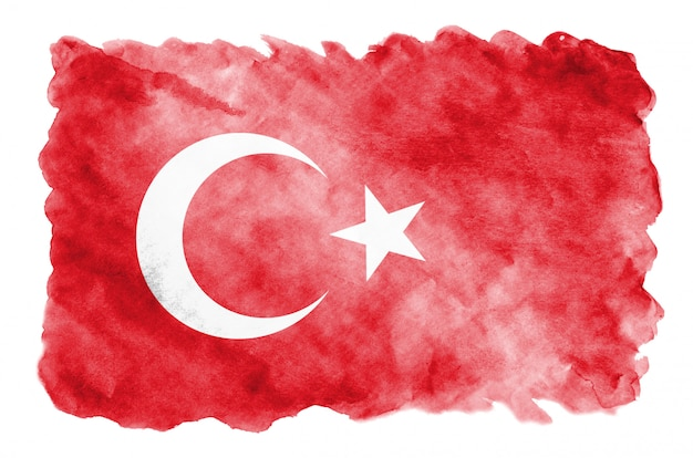 Die türkei-flagge wird in der flüssigen aquarellart dargestellt, die auf weiß lokalisiert wird