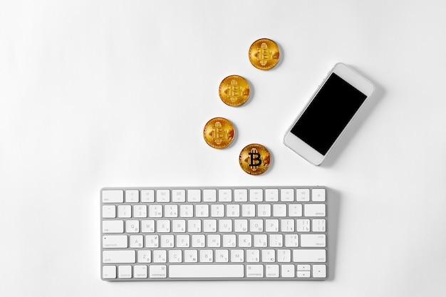 Die übertragung des dollars von der brieftasche auf bitcoin auf dem smartphone. blockchain.