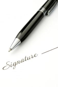 Die unterschrift und kugelschreiber
