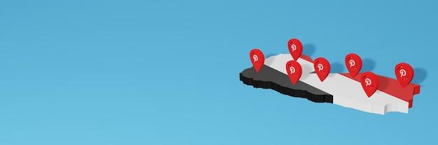 Die verwendung von pinterest im jemen für die bedürfnisse von social-media-tv und website-hintergrund bedeckt leerzeichen