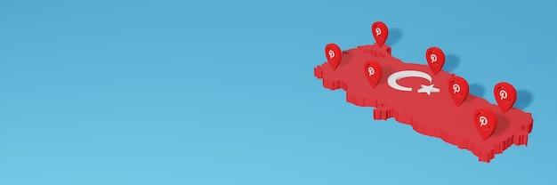 Die verwendung von pinterest in der türkei für die bedürfnisse von social media-tv und website-hintergrund deckt leerzeichen ab