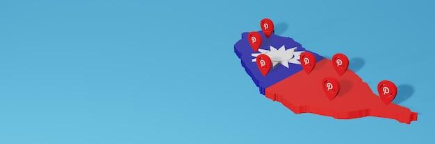Die verwendung von pinterest in taiwan für die bedürfnisse von social media-tv und website-hintergrund deckt leerzeichen ab
