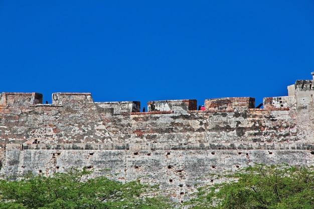 Die vintage festung castillo de san felipe in cartagena kolumbien