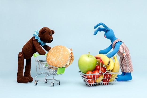 Die wahl zwischen gutem und schlechtem essen