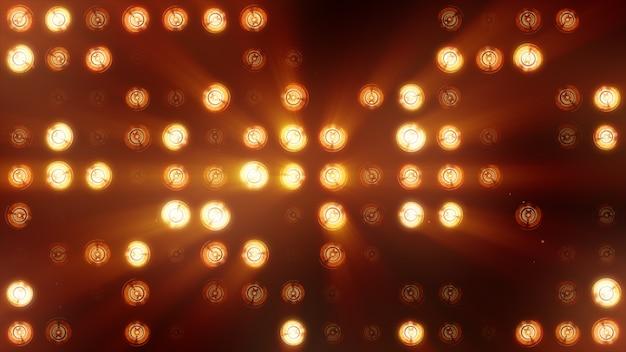 Die wand der glühlampen ist leuchtend orange. led hintergrund