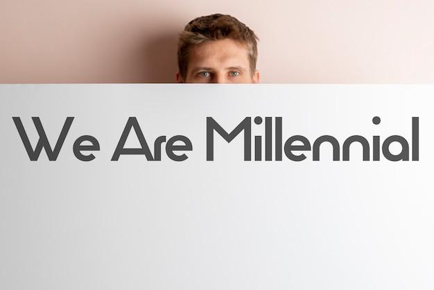 Die we are millenial textwörter auf dem bunten poster der neuen generation konzept