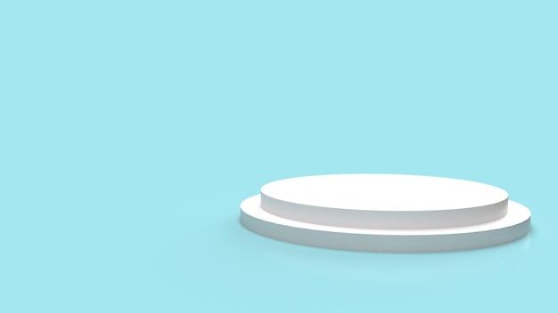 Die weiße podiumplattform auf dem 3d-rendering des blauen hintergrunds