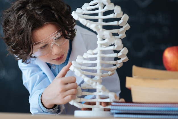 Die welt der mikrobiologie erkunden. kluger begeisterter kleiner forscher, der im labor steht und das genetische codemodell betrachtet, während er bioingenieurwesen studiert und an dem projekt arbeitet
