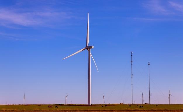 Die windkraftanlagen im windpark von texas reinigen erneuerbare energie