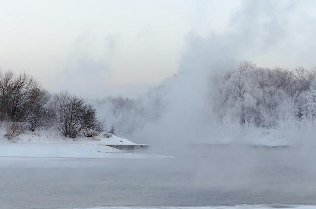 Die winterlandschaft im kolomenskoye-park in moskau