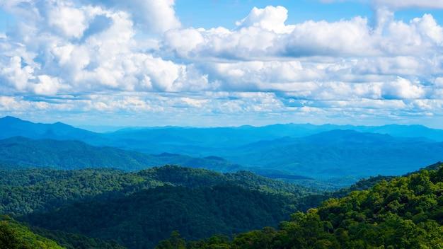 Die wolke, die über berg in der regenzeit sich bewegt. der wald in tropischem.