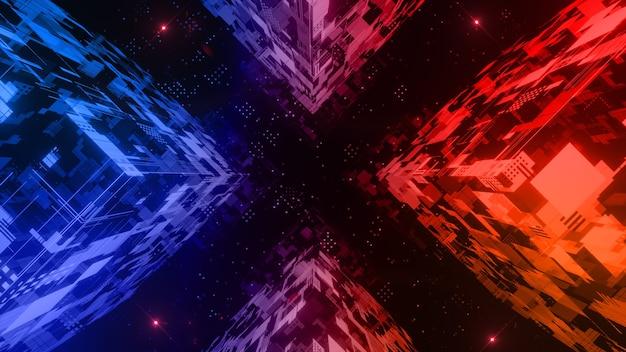 Die würfelform mit digitalem abstraktem hintergrund der beleuchtungstechnologie