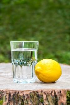 Die zitrone mit einem glas wasser