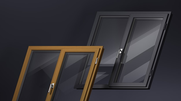 Die zusammensetzung von zwei modernen plastikfenstern