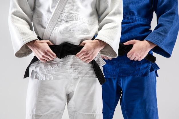 Die zwei judokas kämpfer posieren