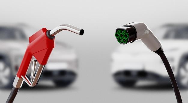 Diesel gegen elektro. gas- oder stromstation. 3d-rendering-abbildung