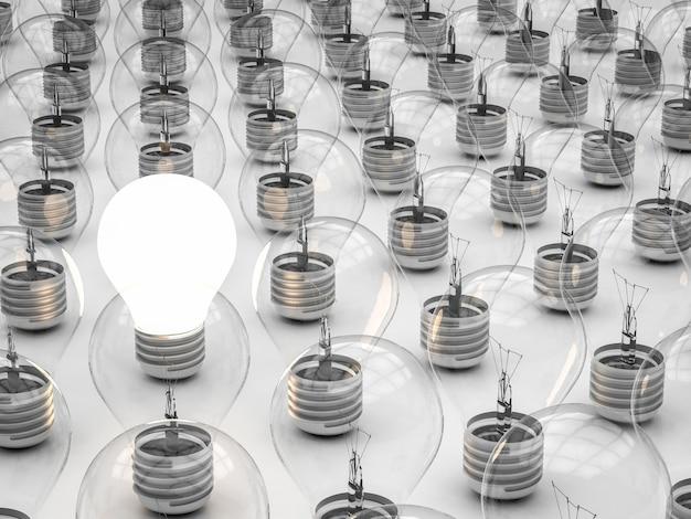 Differenzielles konzept mit leuchtender glühbirne