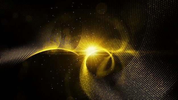 Digital-abstrakte goldfarbpartikel verdrehen und beleuchten hintergrund