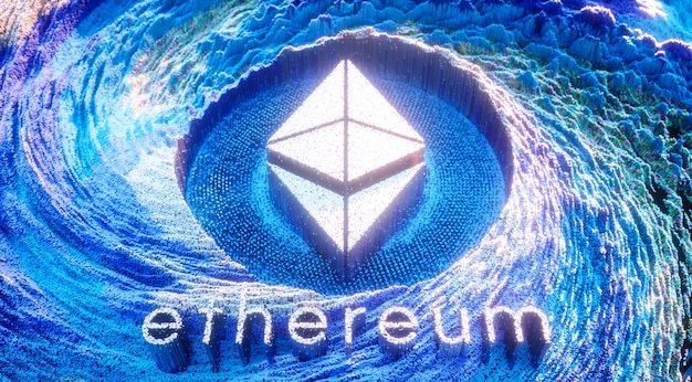 Digital art ethereum logo symbol. kryptowährung futuristische 3d-illustration.