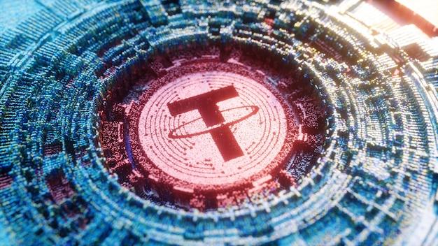 Digital art tether logo symbol. kryptowährung futuristische 3d-illustration.