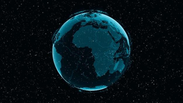 Digital earth zeigt das konzept eines globalen netzwerks