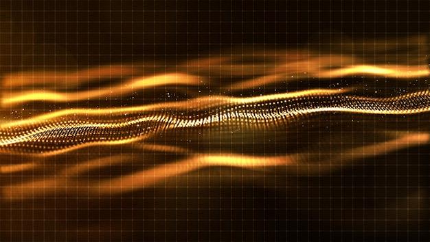 Digital-goldfarbwellen-zusammenfassungshintergrund