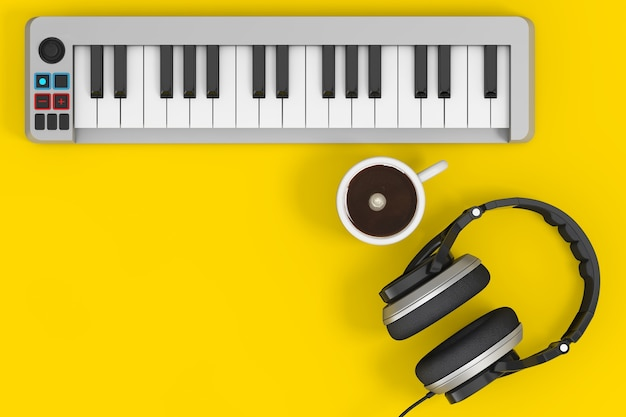 Digital piano synthesizer mit kopfhörern und kaffeetasse auf gelbem grund. 3d-rendering