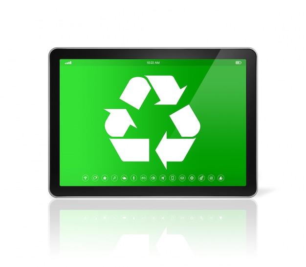Digital tablet pc mit einem recycling-symbol auf dem bildschirm. umweltschutzkonzept