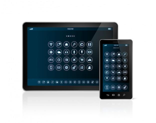 Digital-tablet-pc und smartphone mit apps ikonenschnittstelle