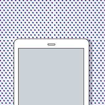 Digital-tablette auf punktmusterhintergrund