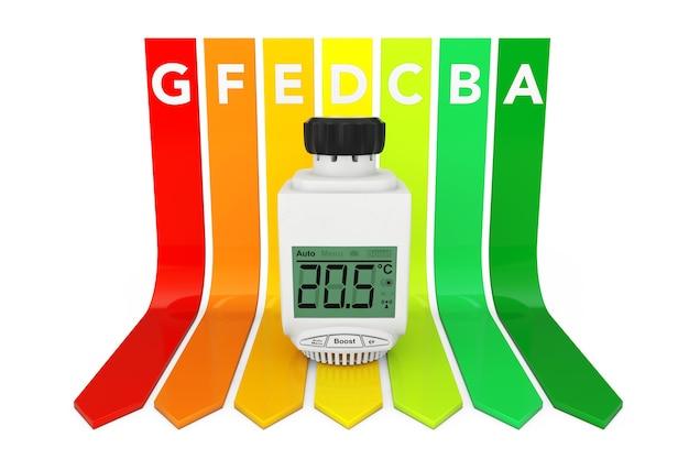 Digital wireless heizkörper-thermostatventil über energieeffizienz-bewertungsdiagramm auf weißem hintergrund. 3d-rendering.