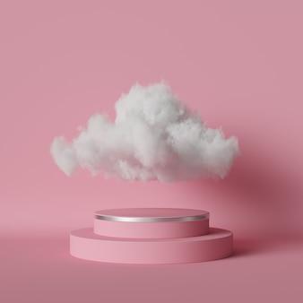 Digitale 3d-darstellung des weißen cumulus oder der wolke, die über dem runden podium schweben