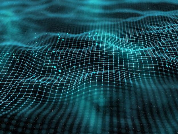 Digitale 3d-landschaft mit verbindungslinien und punkten
