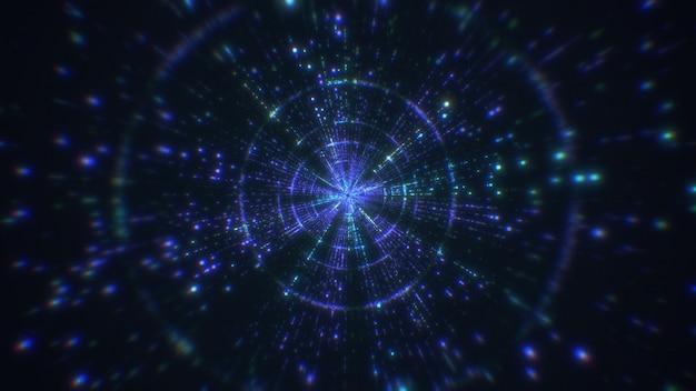Digitale abstrakte tunnellichtstreifen mit großen daten wirken sich auf den hintergrund aus. fliegen in den digitalen technologietunnel. 3d-rendering.