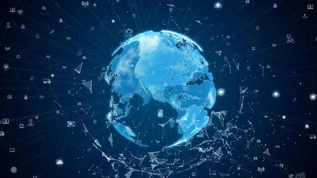 Digitale datennetzwerkverbindungen mit symbol und globaler kommunikation. 5g hochgeschwindigkeits-verbindungsdatenanalyse