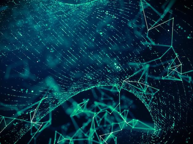Digitale datentechnologie mit partikelgitter-strömungsnetzwerk-verbindungshintergrund