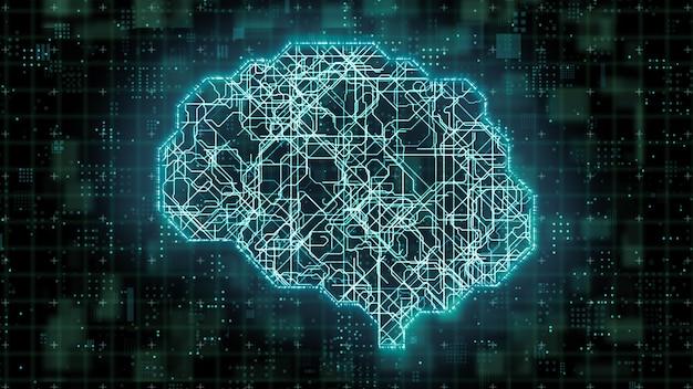 Digitale datenübertragung innerhalb eines deep-learning-mikroprozessor-gehirnschaltkreises, künstliche intelligenz im modernen computertechnologiekonzept, 3d-darstellung von big-data-chip-netzwerkverarbeitung